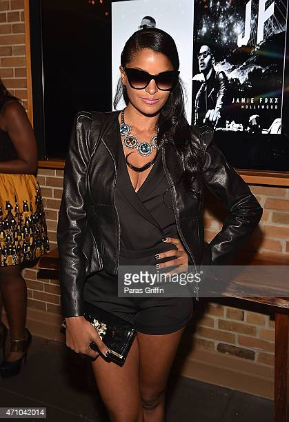 Television personality Claudia Jordan attends the Jamie Foxx private listening session at The Glenn Hotel on April 24 2015 in Atlanta Georgia