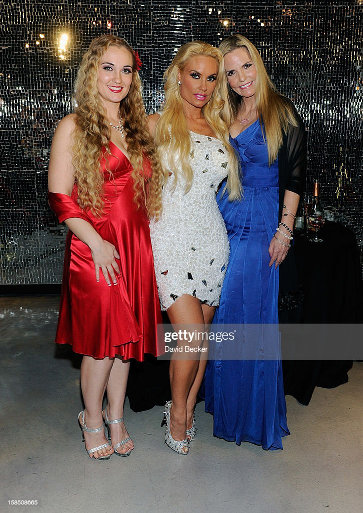 Television personality Coco Austin (C) with sister, Kristy Williams (L), and mother, Tina Austin, appear after Coco Austin's opening night performance in 'Peepshow' at the Planet Hollywood Resort and Casino on December 17, 2012 in Las Vegas, Nevada.