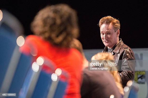 Television personality Conan O'Brien appears on stage for The Hunger Games Mockingjay Part 2 panel at ComicCon International at San Diego Convention...