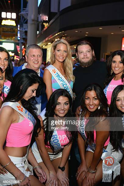 Television personality Corey Harrison and The D Las Vegas Owner Derek Stevens and the TropicBeauty 2014 contestants attend the Tropic Beauty meetand...