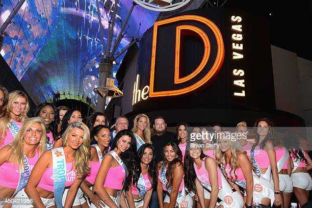Television personality Corey Harrison and the TropicBeauty 2014 contestants attend the Tropic Beauty meetand greet sponsored by Rain Cosmetics at The...