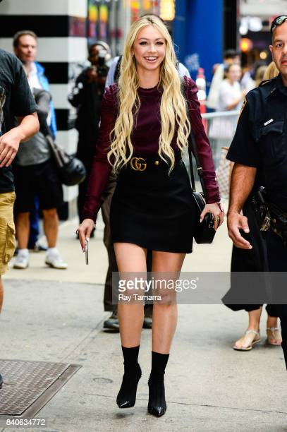 Television personality Corinne Olympios leaves the 'Good Morning America' taping at the ABC Times Square Studios on August 29 2017 in New York City