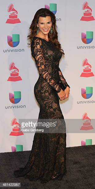 Television personality Cristina Bernal poses in the press room during The 14th Annual Latin GRAMMY Awards at the Mandalay Bay Events Center on...