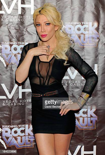 Television personality Daisy De La Hoya arrives at the grand opening of Raiding the Rock Vault at the Las Vegas Hotel Casino on March 18 2013 in Las...