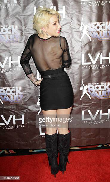 Television personality Daisy De La Hoya attends the Raiding the Rock Vault VIP opening and red carpet at the LVH Hotel Casino on March 18 2013 in Las...