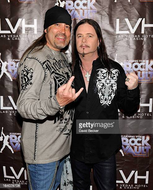 Television personality Danny The Count Koker and singer John Payne arrive at the grand opening of Raiding the Rock Vault at the Las Vegas Hotel...