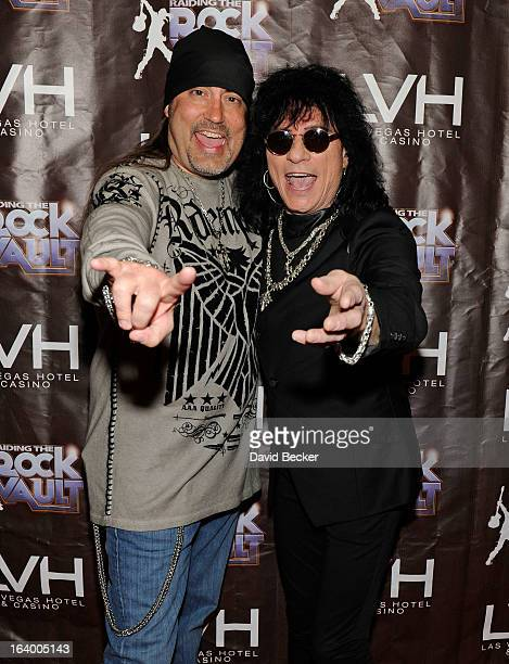 Television personality Danny The Count Koker and singer Paul Shortino arrive at the grand opening of Raiding the Rock Vault at the Las Vegas Hotel...