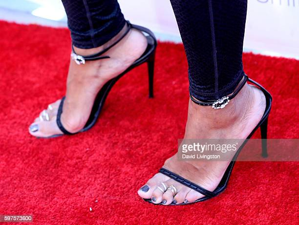 Television personality Daphne Wayans shoe detail attends the 4th Annual Kailand Obasi HoopLife Fundraiser at USC Galen Center on August 28 2016 in...
