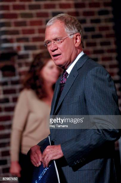 """Television personality David Letterman is seen at the """"Late Show With David Letterman"""" at the Ed Sullivan Theatre on September 22, 2008 in New York..."""