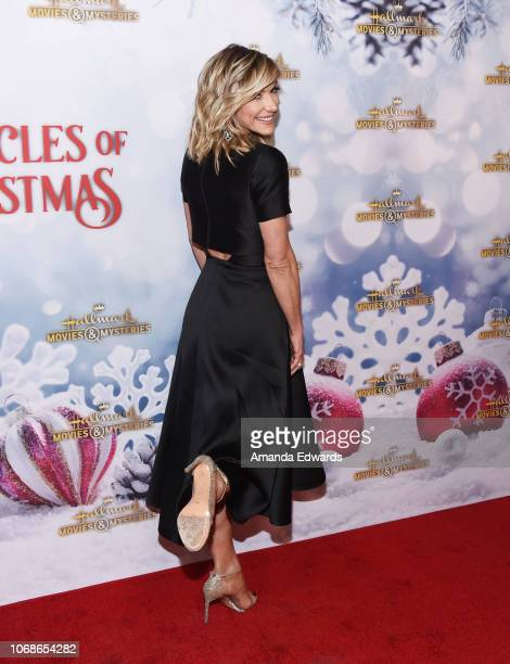 Television personality Debbie Matenopoulos arrives at the Hallmark Channel 'Once Upon A Christmas Miracle' screening and holiday party at 189 by...
