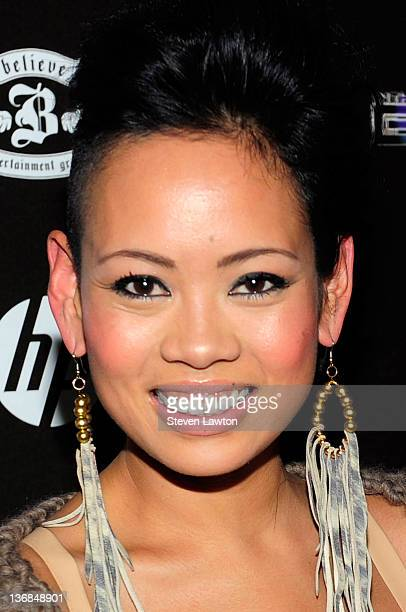 Television personality/ designer Anya Ayoung Chee arrives to celebrate the launch of 'In The Booth' at XS nightclub on January 11 2012 in Las Vegas...