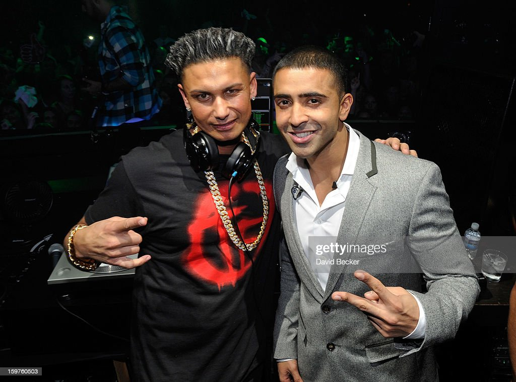 Television personality DJ Paul 'Pauly D' DelVecchio (L) and recording artist Jay Sean appear DelVecchio's year-long residency kick-off at Haze Nightclub at the Aria Resort & Casino at CityCenter on January 19, 2013 in Las Vegas, Nevada.