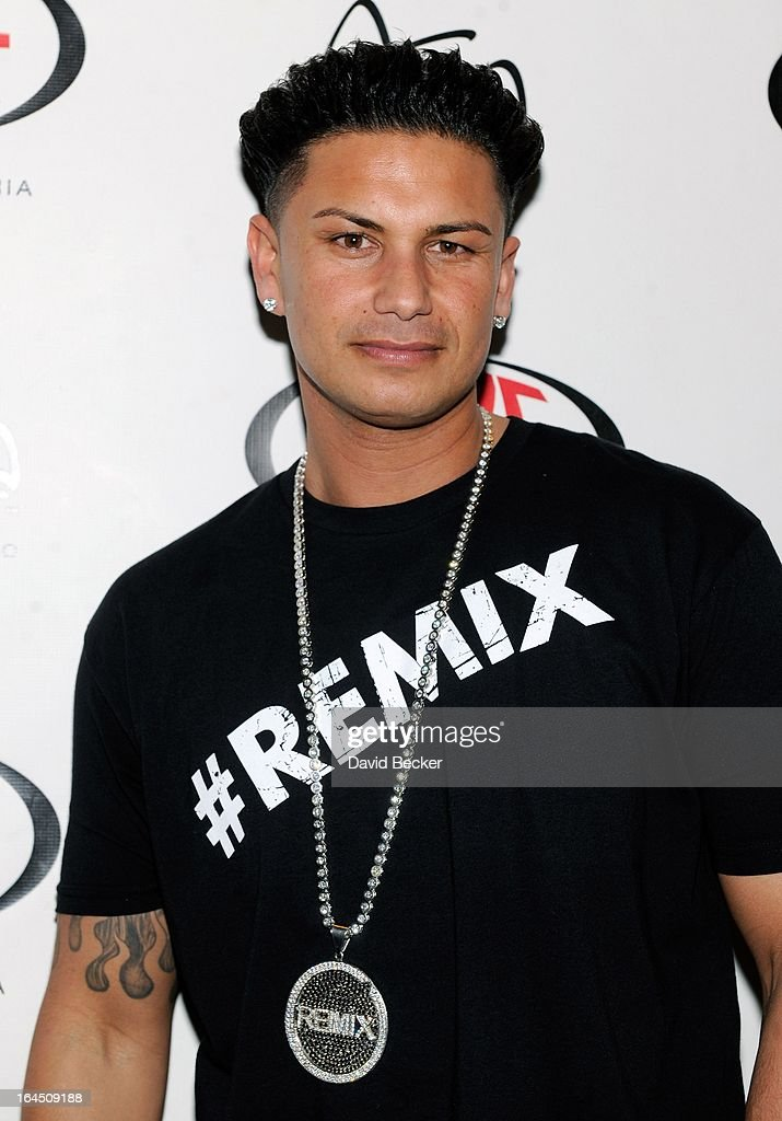 Television personality DJ Paul 'Pauly D' DelVecchio arrives at Haze Nightclub at the Aria Resort & Casino at CityCenter for his monthly residency on March 23, 2013 in Las Vegas, Nevada.