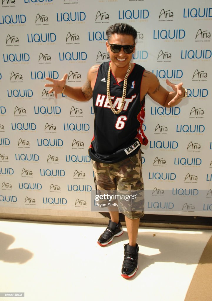Television personality DJ Paul 'Pauly D' DelVecchio arrives at the Liquid Pool Lounge at the Aria Resort & Casino at CityCenter on April 13, 2013 in Las Vegas, Nevada.