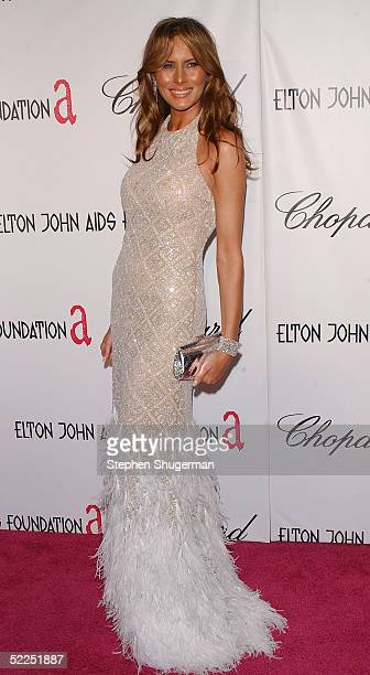 Television personality Donald Trump's wife Melania Trump arrives at the 13th Annual Elton John Aids Foundation Academy Awards Viewing Party at the...