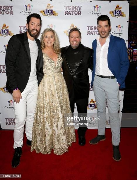 Television personality Drew Scott Angie Fiore Fator and her husband comic ventriloquist and impressionist Terry Fator and television personality...
