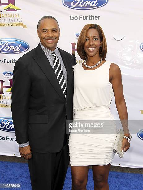 Television personality Ed Gordon and wife Leslie Gordon arrive at the 10th Annual Ford Hoodie Awards at the MGM Grand Garden Arena on August 4 2012...