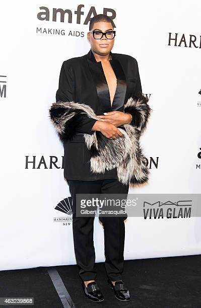 Television personality EJ Johnson attends the 2015 amfAR New York Gala at Cipriani Wall Street on February 11 2015 in New York City