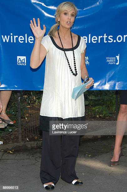 Television personality Elizabeth Hasselbeck speaks at the launch of the Wireless Amber Alerts Campaign September 24 at Madison Square Park in New...
