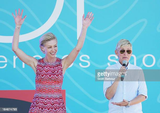 Television personality Ellen DeGeneres and her wife Portia de Rossi appear on stage during the filming of her television show at Birrarung Marr on...