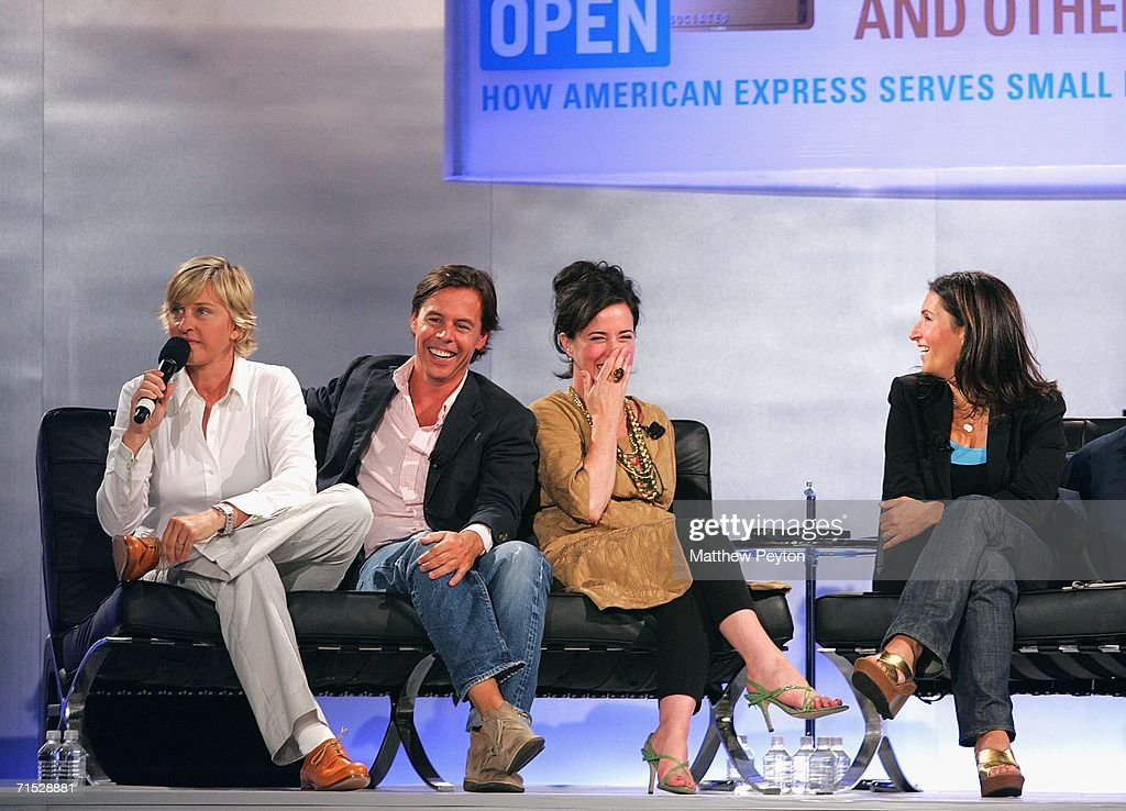 Television personality Ellen Degeneres, Andy Spade, CEO and Creative Director of Kate Spade, designer Kate Spade and Bobbi Brown, founder and CEO of Bobbi Brown Cosmetics Worldwide, attend OPEN from American Express' 'Making a Name for Yourself' at Nokia Theater July 27, 2006 in New York City.