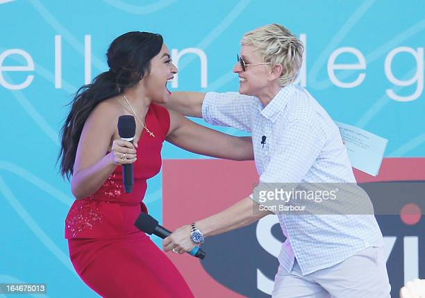 Television personality Ellen DeGeneres appears on stage with Australian singer Jessica Mauboy during the filming of her television show at Birrarung...