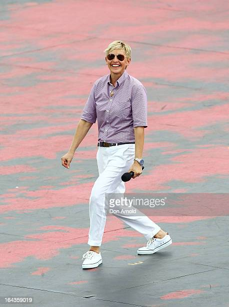 Television personality Ellen DeGeneres dances on the set of her television show being shot on a stage above Sydney Harbour on March 23, 2013 in...