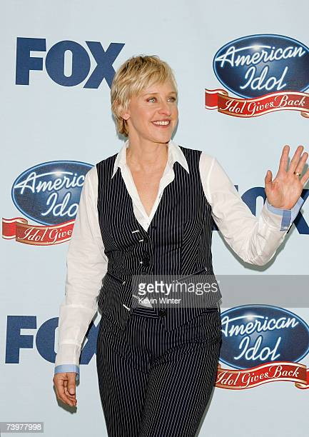Television personality Ellen DeGeneres poses in the press room during the 'American Idol Gives Back' held at the Walt Disney Concert Hall on April 25...