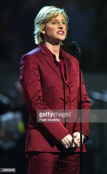 Television Personality Ellen Degeneres presents at the 46th Annual Grammy Awards held at the Staples Center on February 8 2004 in Los Angeles...