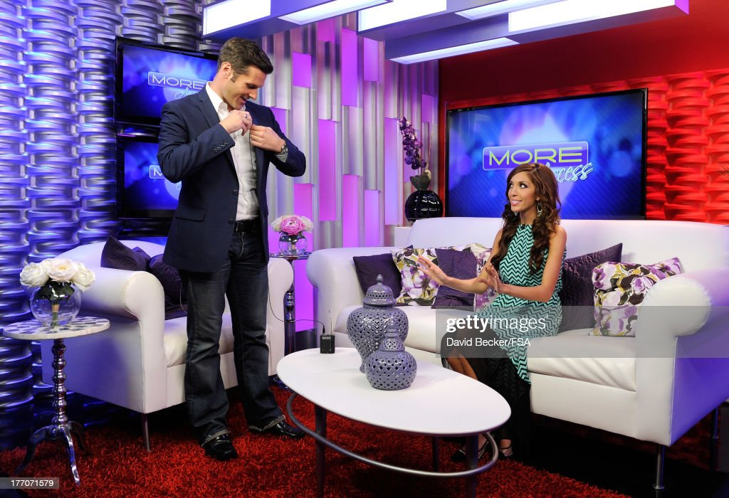 Television personality Farrah Abraham (R) appears on the set of 'MORE Access' with host Sean McAllister at the FOX 5 Las Vegas studio on August 20, 2013 in Las Vegas, Nevada.