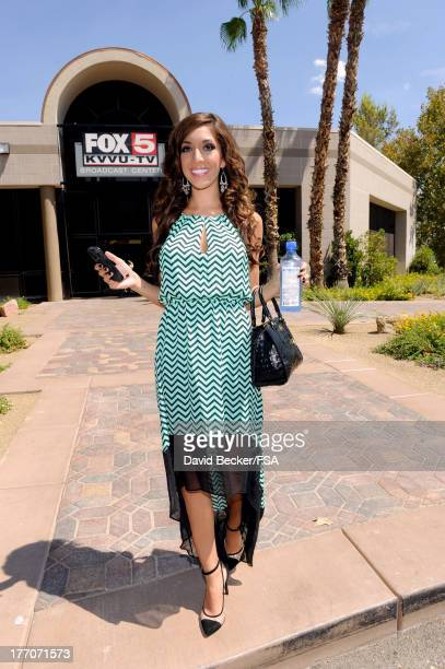 Television personality Farrah Abraham leaves the FOX 5 Las Vegas studio after a television interview on August 20 2013 in Las Vegas Nevada