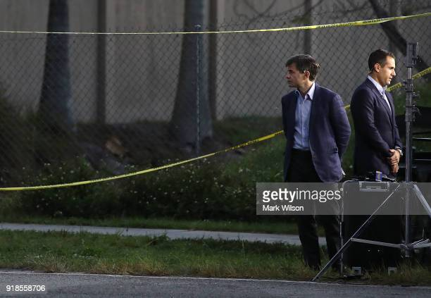 Television personality George Stephanopoulos reports from a police check point near the Marjory Stoneman Douglas High School where 17 people were...