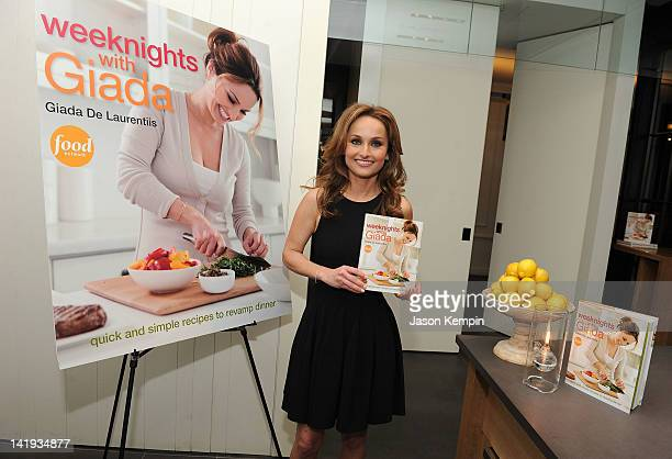 Television personality Giada De Laurentiis attends Giada DeLaurentiis' Weeknights With Giada book launch party at the Andaz Hotel on March 26 2012 in...