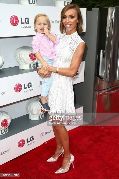 Television personality Giuliana Rancic and her son Duke Rancic attend Junior Chef Academy With Sandra Lee at The Washbow on July 15 2014 in Culver...