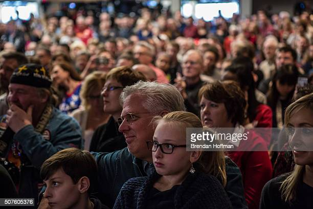 Television personality Glenn Beck listens in the audience as Republican presidential candidate Sen. Ted Cruz speaks at a campaign event at the...