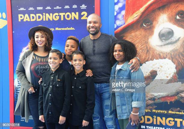 Television personality Gloria Govan former NBA player Derek Fisher and kids arrive for the premiere of Warner Bros Pictures' 'Paddington 2' held at...