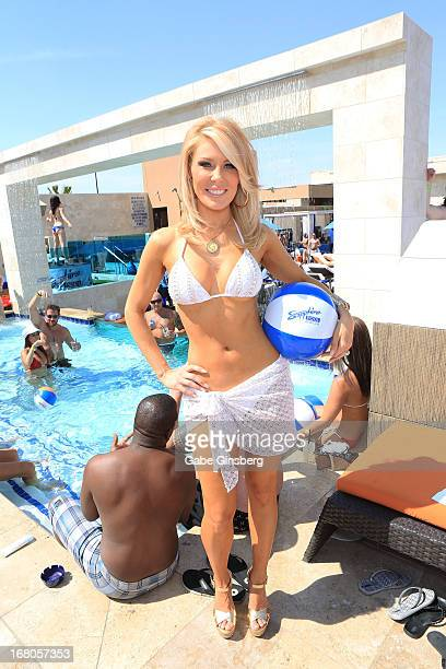 Television personality Gretchen Rossi poses at the Sapphire Pool Day Club grand opening party on May 4 2013 in Las Vegas Nevada