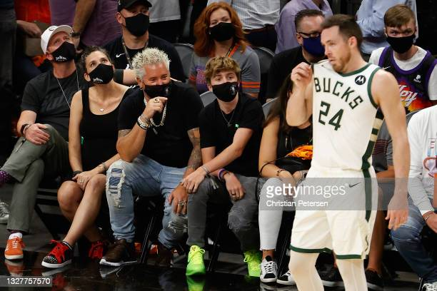 Television personality Guy Fieri attends game two of the NBA Finals between the Phoenix Suns and the Milwaukee Bucks at Phoenix Suns Arena on July...