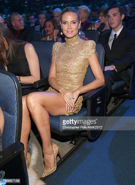Television personality Heidi Klum poses in the audience at the 40th American Music Awards held at Nokia Theatre LA Live on November 18 2012 in Los...