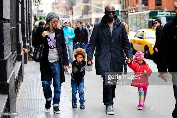 Television personality Heidi Klum son Henry Samuel singer Seal and daughter Leni Klum walk in Soho on April 13 2009 in New York City