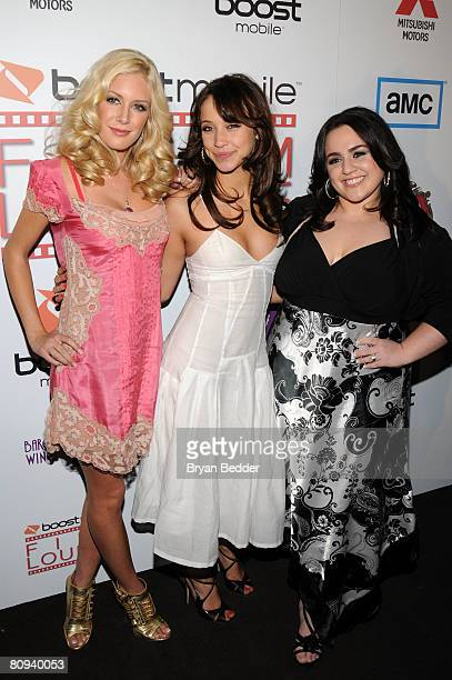 Television personality Heidi Montag actor Stella Maeve and Nikki Blonsky attend the premiere party for Harold hosted by the Boost Mobile film lounge...