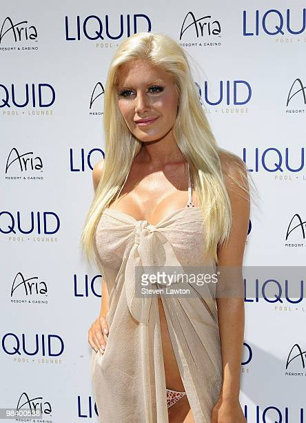 Television personality Heidi Montag arrives to host a pool party at the Liquid Pool at Aria in CityCenter on April 10 2010 in Las Vegas Nevada
