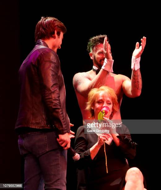 Television personality Jared Haibon gives a rose to the winner of a lap dance contest at Chippendales at the Rio Hotel Casino on December 08 2018 in...