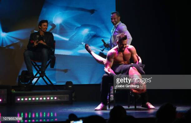 Television personality Jared Haibon judges a lap dance contest at Chippendales at the Rio Hotel Casino on December 08 2018 in Las Vegas Nevada