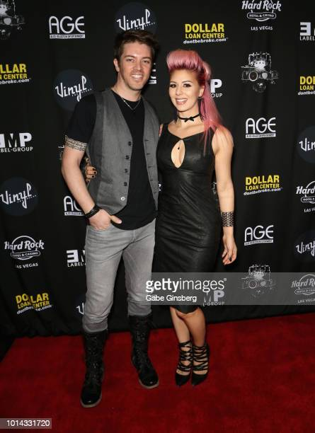 Television personality JD Scott and model Annalee Belle attend a CD release party for COOP at Vinyl inside the Hard Rock Hotel Casino on August 9...