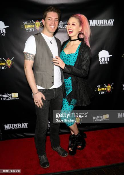 Television personality JD Scott and model Annalee Belle attend Murray SawChuck's celebration of 1 Million YouTube subscribers at The Golden Tiki on...