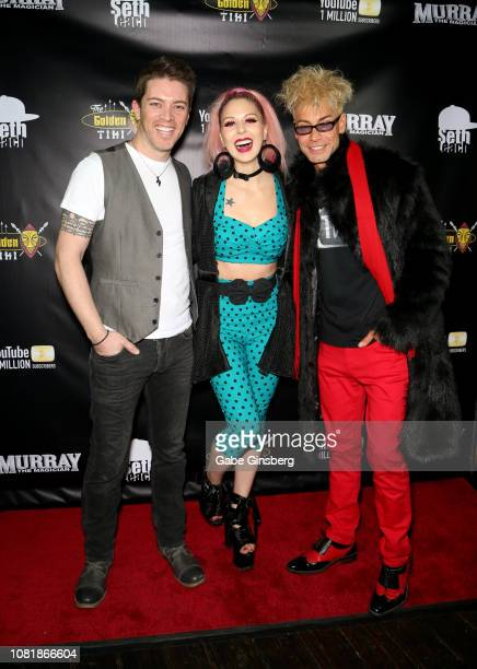 Television personality JD Scott model Annalee Belle and magician/comedian Murray SawChuck attend SawChuck's celebration of 1 Million YouTube...