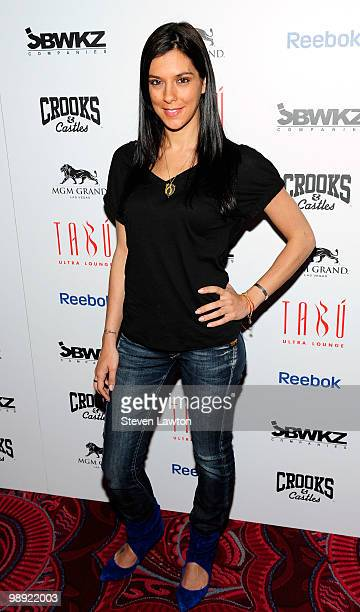 Television personality Jenna Morasca arrives at the Tabu Ultra Lounge at MGM Grand Hotel/Casino for the opening night of the JabbaWockeez dance crew...