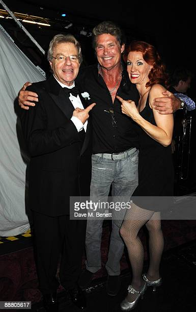 "Television personality Jerry Springer, actor David Hasselhoff and actress Leigh Zimmerman attend the musical ""Chicago"" at the Cambridge Theatre on..."