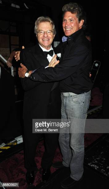"Television personality Jerry Springer and actor David Hasselhoff attend the musical ""Chicago"" at the Cambridge Theatre on July 2, 2009 in London,..."